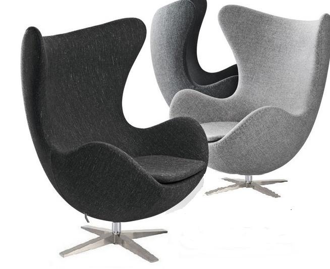 Крісло Егг (Egg) тканину, дизайнерське, м'яке, метал, колір сірий