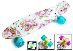 """Penny Board """"Flowers"""" Светящиеся колеса. Пенниборд """"Цветы"""" для девочки, розовый (22 дюйма - 57 на 15 см)"""
