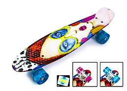 """Пенниборд 'Классная девчонка' с рисунком, 22 дюйма - Penny Board """"Cool Girl"""" Светящиеся колеса."""