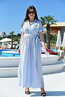 """Льняное длинное платье-рубашка в полоску """"SOPOT"""" с поясом и карманами (большие размеры)"""
