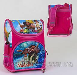 Рюкзак школьный для первоклассника девочке Розовый Моана спинка ортопедическая, 3D принт