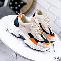 Кроссовки женские Elina беж + черный + оранжевый на шнурках