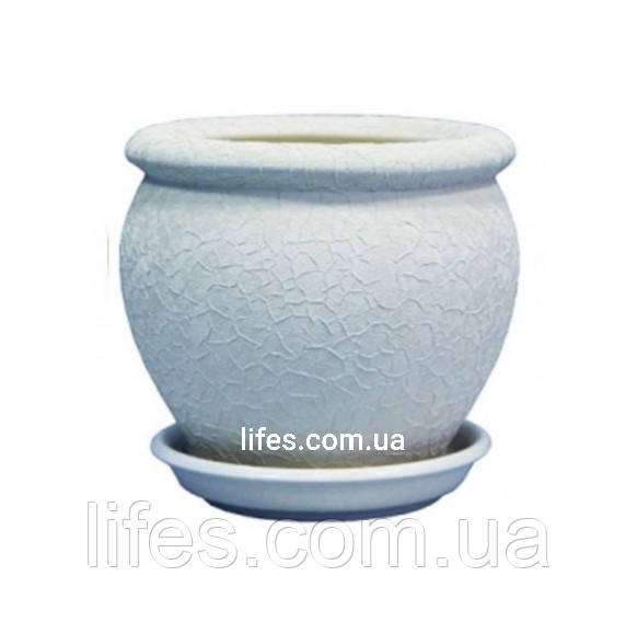 Вазон керамический Вьетнам №4 белый шелк 1.4л
