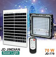 Прожектор Jindian JD-770 70W, IP67, солнечная батарея, пульт ДУ, встроенный аккумулятор, таймер