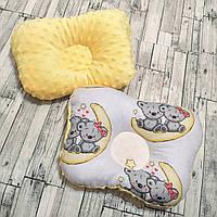 """Ортопедическая подушка для новорожденных """"мишки на луне"""" с плюшем минки"""