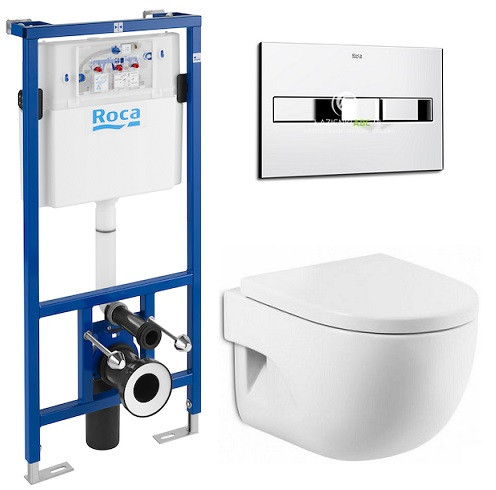 ROCA  Комплект: MERIDIAN-N подвесной унитаз,сиденье твердое slow-closing, PRO инсталляция для унитаза, PRO