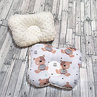 """Ортопедическая подушка для новорожденных """"мишка Тэдди с плюшем минки"""""""