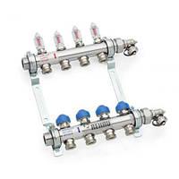 Коллектор для теплого пола на 6 выходов с расходомерами (нержавейка) HKV-D 6 REHAU