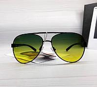 Очки авиаторы для водителей Антиблики Антифары с зеленым градиентом, фото 1