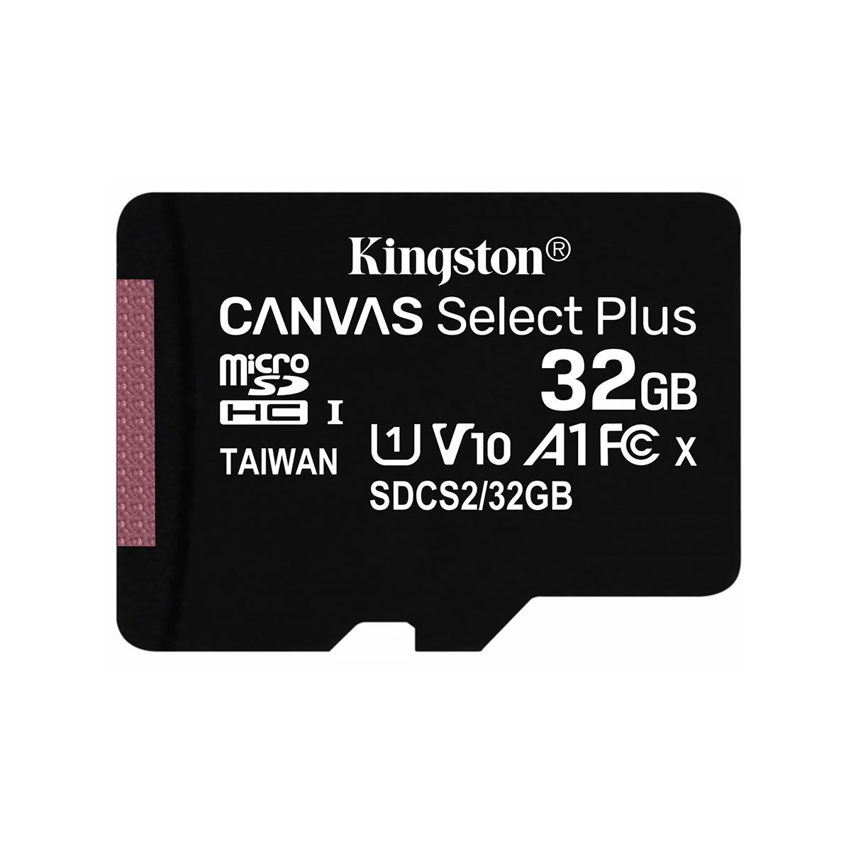 Карта памяти microSDHC Kingston 32GB Canvas Select Plus V10 A1 Class 10 UHS-I U1 (R100MB/s)