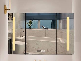 Умный шкаф из дерева с зеркалом для ванной. Модель RD-452.