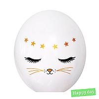 """Гелієва куля 12"""" (30 см) Котик на білому (1шт.)"""