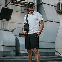Спортивный костюм мужской летний Nike, комплект футболка поло белая, шорты черные, барсетка