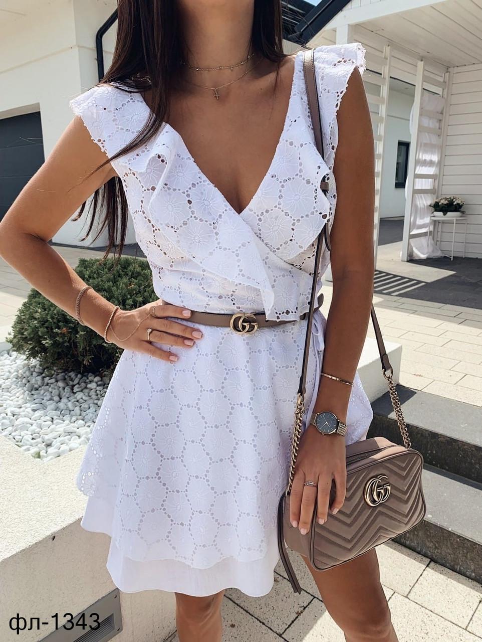 Женское летнее белое платье на запах из прошвы с ремнем