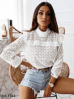 Женская стильная блузка из прошвы, фото 1