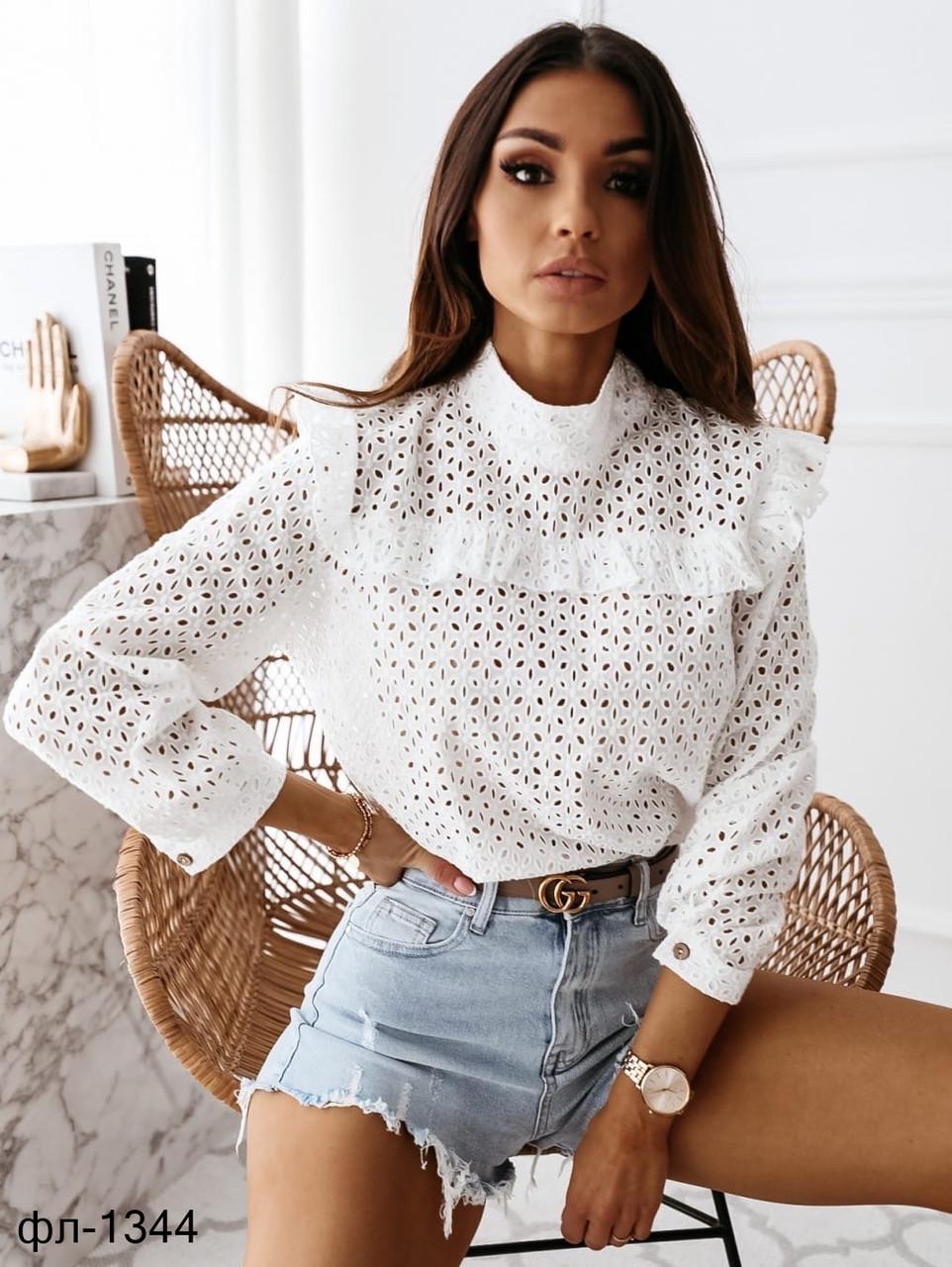Женская стильная блузка из прошвы