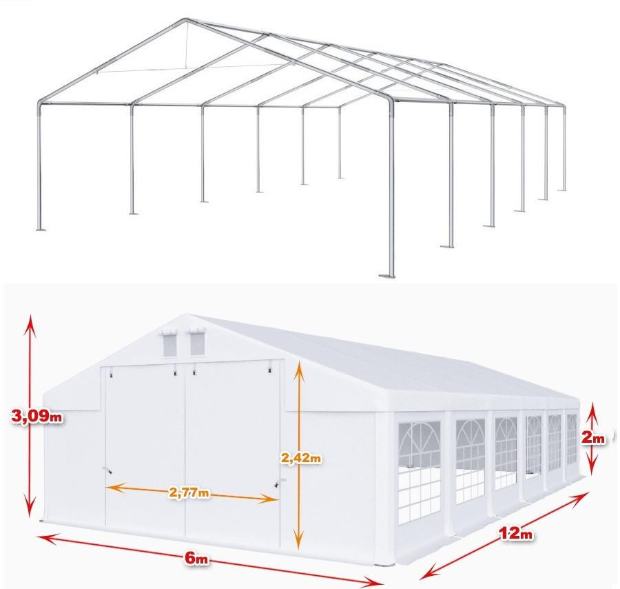 Шатер 6х12 PE полипропилен, торговый павильон, садовая палатка, тент, ангар, гараж, намет, зонт с окнами