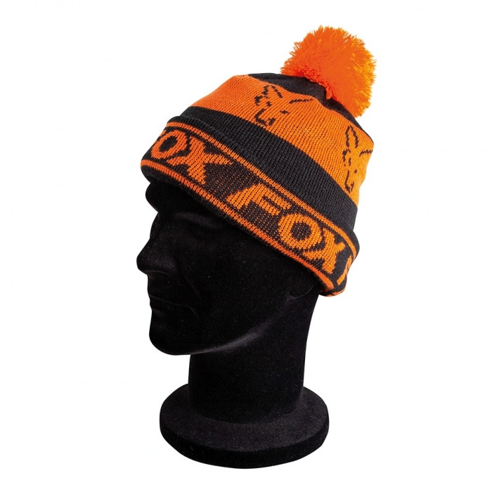Шапка Fox Black/Orange Lined Bobble Hat
