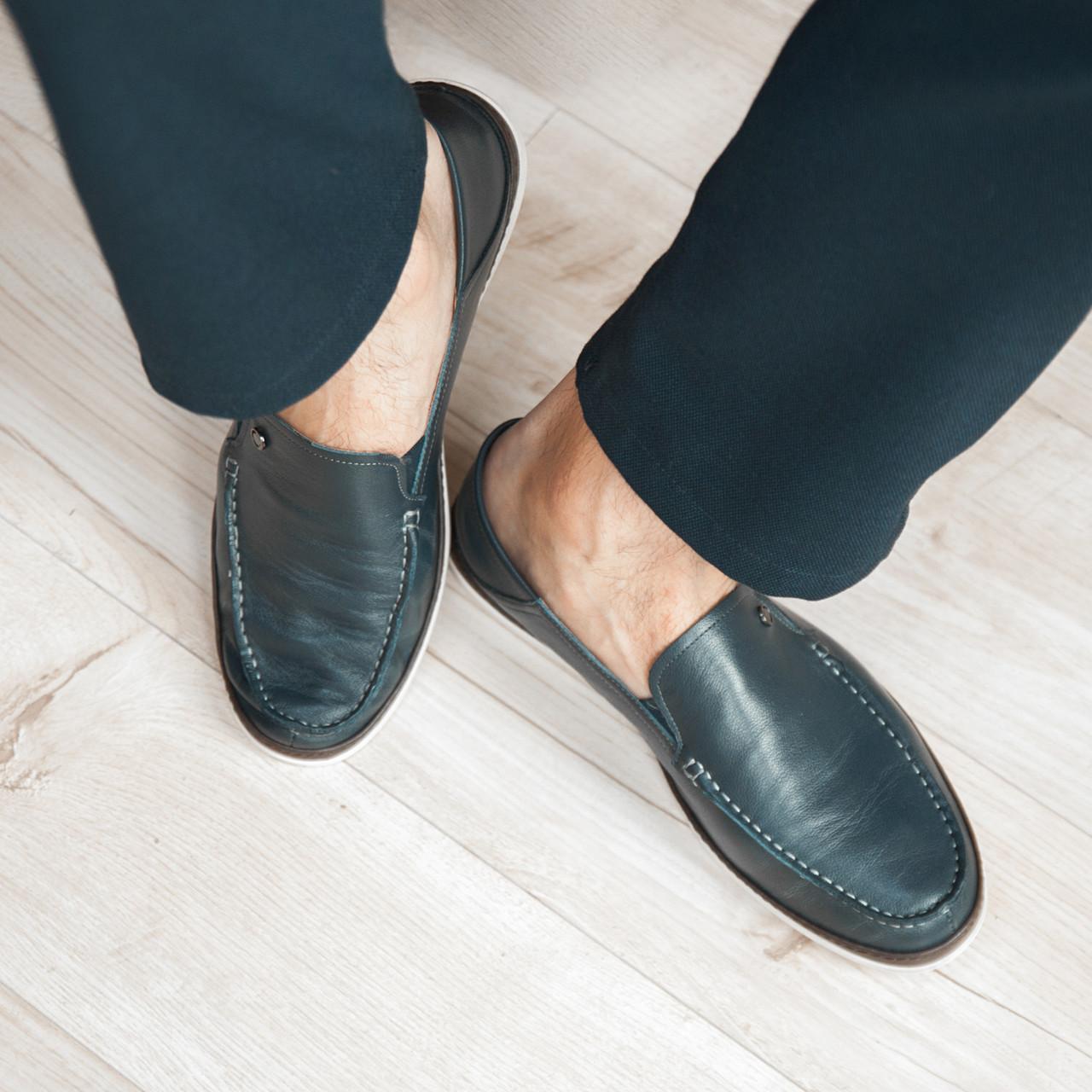 Туфлі мокасини чоловічі сині шкіряні