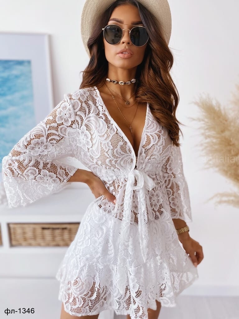 Женская стильная белая туника Парео