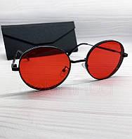 Женские солнцезащитные круглые очки с красными линзами, фото 1