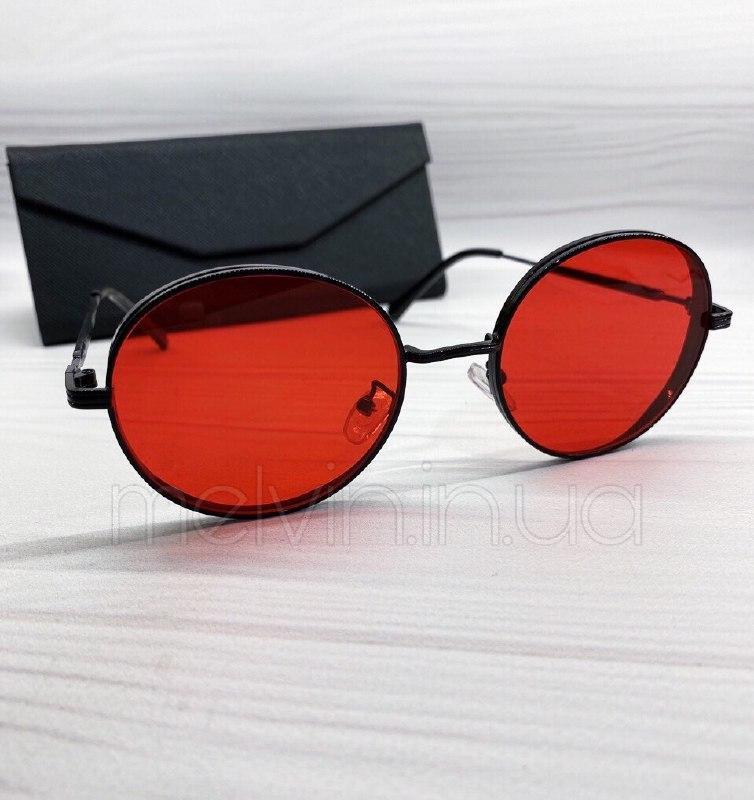 Женские солнцезащитные круглые очки с красными линзами