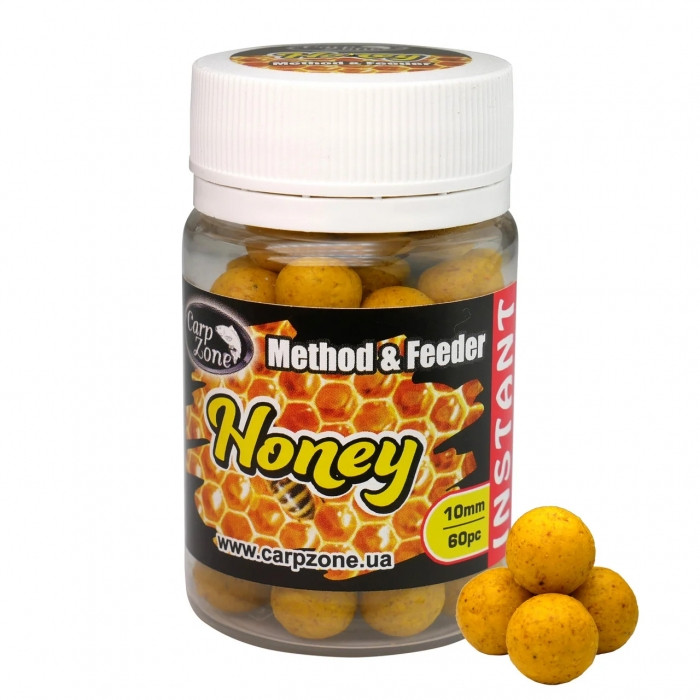 Бойлы насадочные Мед CarpZone Honey Method & Feeder Series Instant 10mm, банка 60 шт