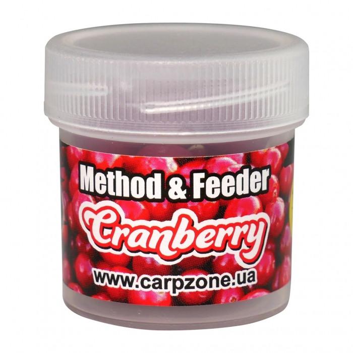 Бойлы пробник насадочные растворимые Клюква CarpZone ?ranberry Boilies Method & Feeder Series Soluble 10mm, банка 15 шт