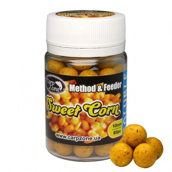 Бойлы насадочные растворимые Сахарная Кукуруза CarpZone Sweet Corn Boilies Method & Feeder Series Soluble 10mm, банка 60 шт