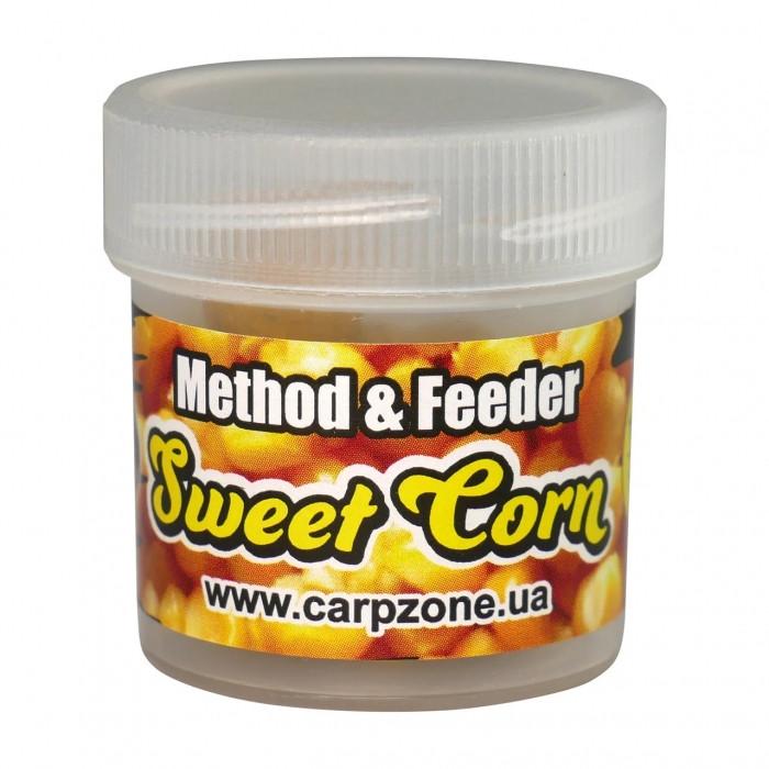 Бойлы пробник насадочные растворимые Сахарная Кукуруза CarpZone Sweet Corn Boilies Method & Feeder Series Soluble 10mm, банка 15 шт