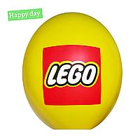 """Гелиевый шар 12"""" (30 см) Лего эмблема на желтом (1шт.)"""