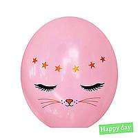 """Гелиевый шар 12"""" (30 см) Котик на розовом (1шт.)"""