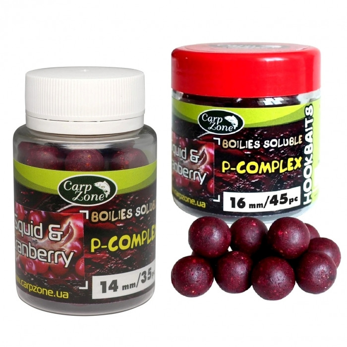 Бойлы насадочные растворимые Кальмар и Клюква CarpZone Squid & Cranberry P-Complex Boilies Soluble Hookbaits, банка 45 шт