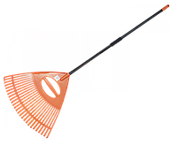 Грабли для сада веерные - 26 зубцов, черенок металлический, KT-CXGH26-M