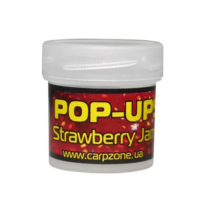 Поп-ап пробник Клубника CarpZone Strawberry Jam Pop-Ups Fluro, банка 15 шт