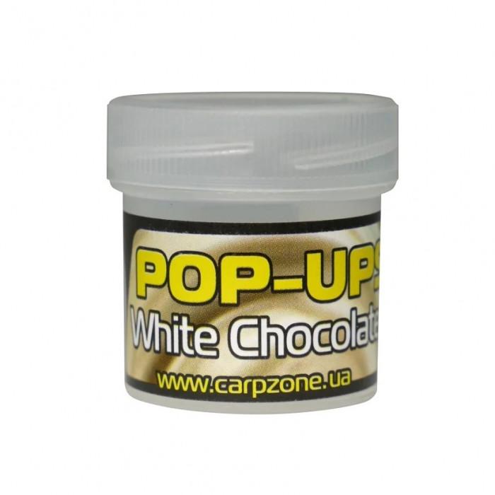 Поп-ап пробник Белый Шоколад CarpZone White Chocolate Pop-Ups Fluro, банка 15 шт