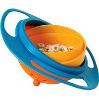 Детская тарелка-непроливайка Universal Gyro Bowl из экологически безопасного пластика Голубой с оранжевым