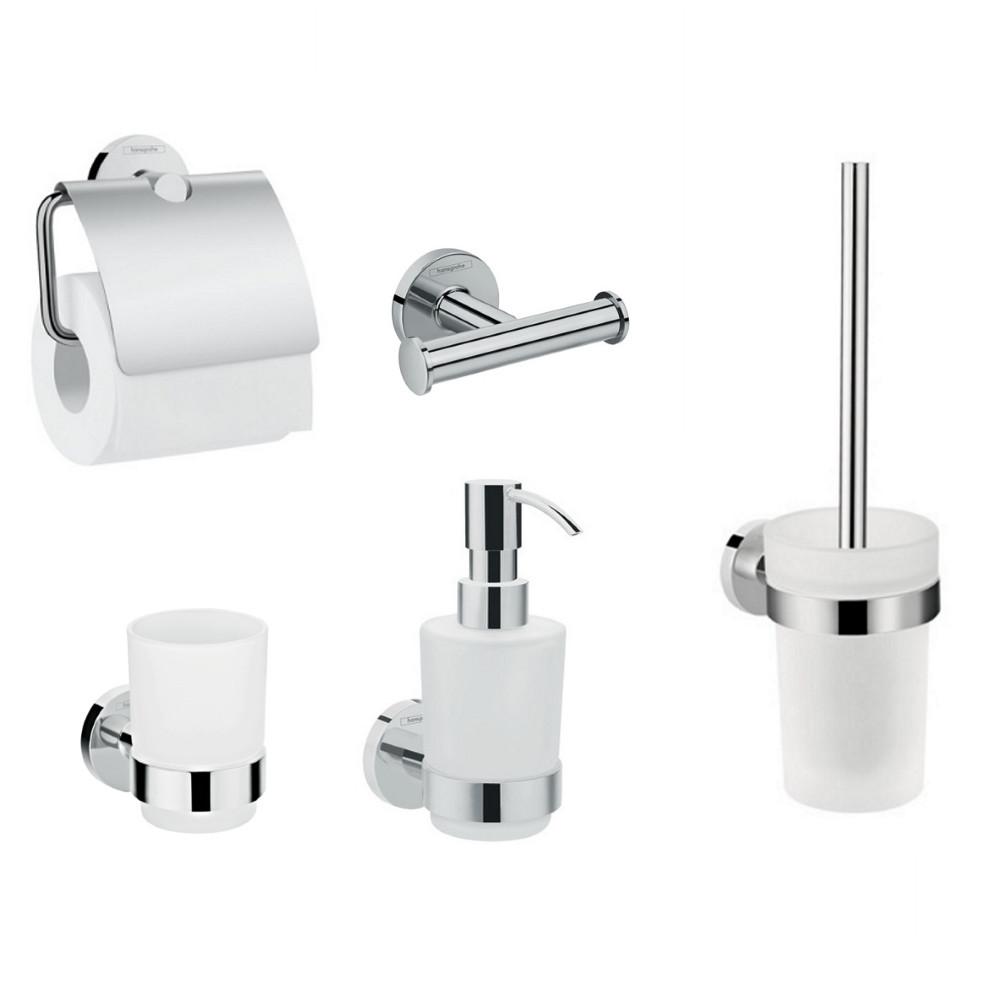 HANSGROHE  Logis Набор аксессуаров: крючок двойной, диспенсер, держатель туалетной бумаги, стакан, туалетная щётка