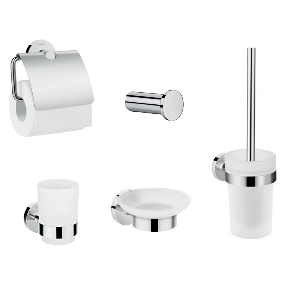 HANSGROHE  Logis Набор аксессуаров: крючок, мыльница, держатель туалетной бумаги, стакан, туалетная щётка