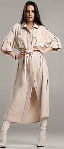 Элегантное платье-рубашка с разрезами на пуговицах Жаннет 42-48 р