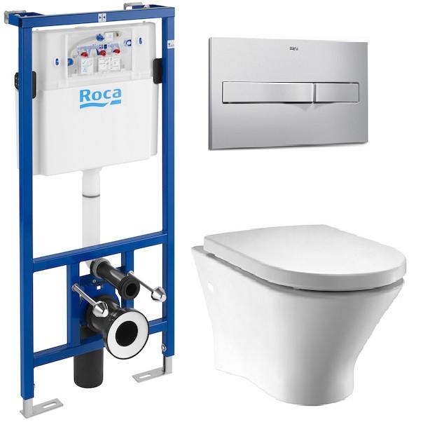 ROCA  Комплект: NEXO Rimless унитаз подвесной, PRO инсталяция для унитаза, PRO кнопка, сиденье твердое slow-closing