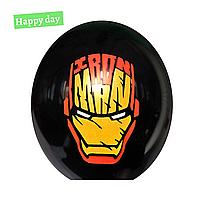 """Гелиевый шар 12"""" (30 см) Железный Человек маска на черном (1шт.)"""