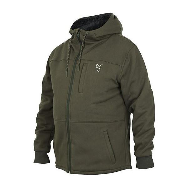 Толстовка на молнии с капюшоном Fox collection Green / Silver Sherpa hoodie