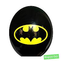 "Гелиевый шар 12"" (30 см) Бэтмен эмблема на черном  (1шт.)"