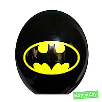 "Гелієва куля 12"" (30 см) Бетмен емблема на чорному (1шт.)"