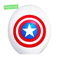 """Гелиевый шар 12"""" (30 см) Капитан Америка щит на белом (1шт.)"""