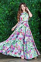 РАСПРОДАЖА! Шикарное платье в пол с цветочным принтом голубого цвета, юбка клёш, р.42-44 код 1002У