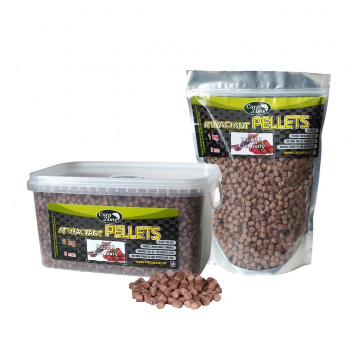 Пеллетс прикормочный Кальмар и Клюква CarpZone Attractant pellets Squid & Cranberry, 1kg