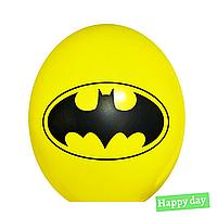 """Гелиевый шар 12"""" (30 см) Бэтмен эмблема на желтом  (1шт.)"""