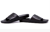 Чоловічі шкіряні літні шльопанці Nike black чорні, фото 1